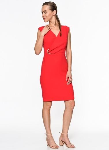Setre Kruvaze Yaka Kolsuz Elbise Kırmızı